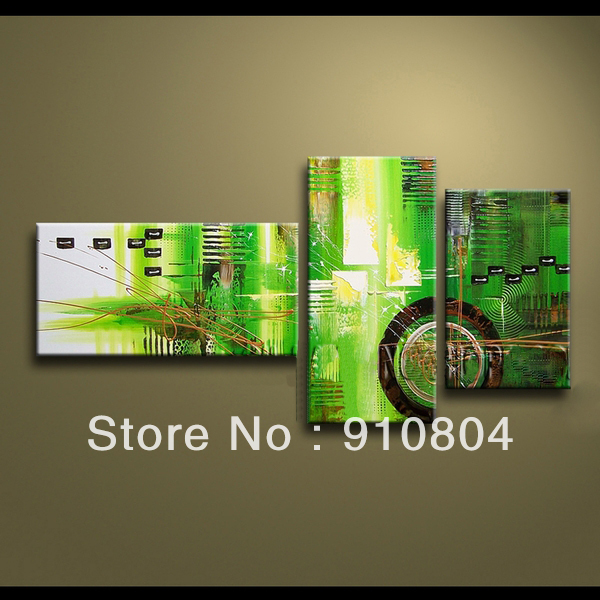 Framed 3 Panels High End 3 Piece Wall Art Green Paintings Canvas Home Decor L1230(China (Mainland))