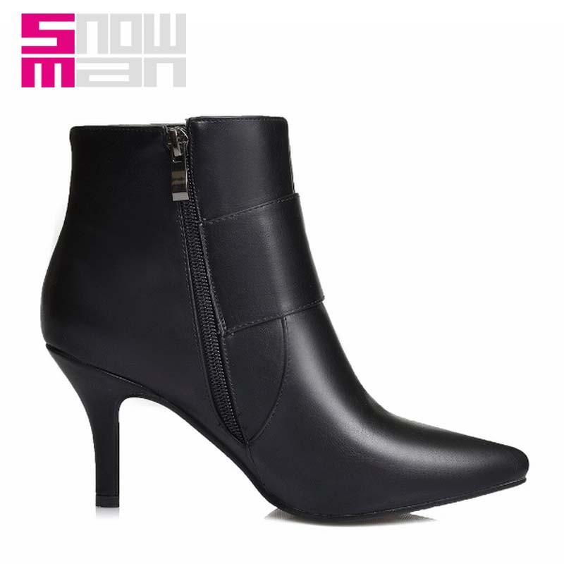 Lady Pointed toe Spring Botas Mujer Women Boots Wide Buckle Strap Ankle Boots High Heels Shoes Woman Winter Boots Women's Shoes