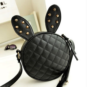 2015HOT!New! Lovely Rabbit Ears Black Circular Diamond Lattice Embroider Line Single Shoulder Bag Messenger FREE SHIPPING G0077(China (Mainland))