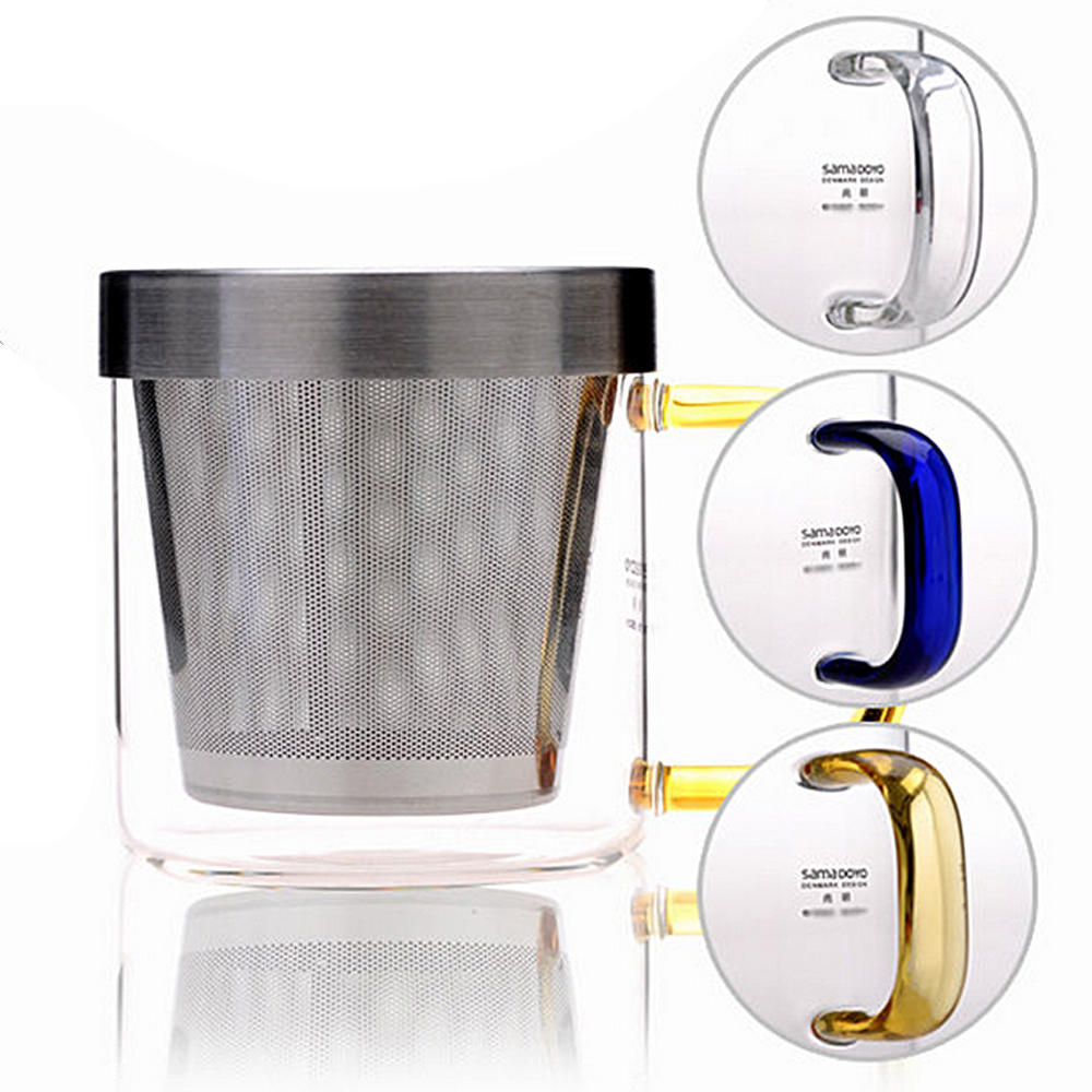 Top Grade Glass 1PC Blue/Amber/Clear Drink Cup 350ml Lead Free Clear Heaproof Glass Tea Cup Water Mug&Tea InfuserBrewing Tea(China (Mainland))