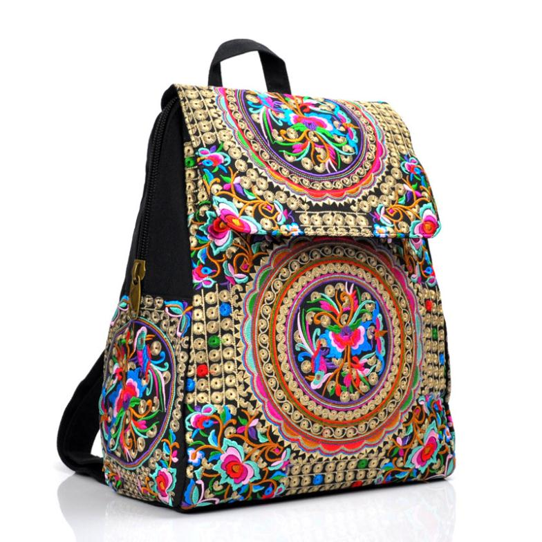 Retail Nathional Wind Canvas Soft Embroidered Backpack Ethnic Embroidery Satchel Casual Travel backbag Trend 2015 Free shipping(China (Mainland))