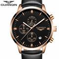 Mens Watches Top Brand Luxury GUANQIN Men Military Sport Luminous Wristwatch Chronograph Leather Quartz Watch relogio