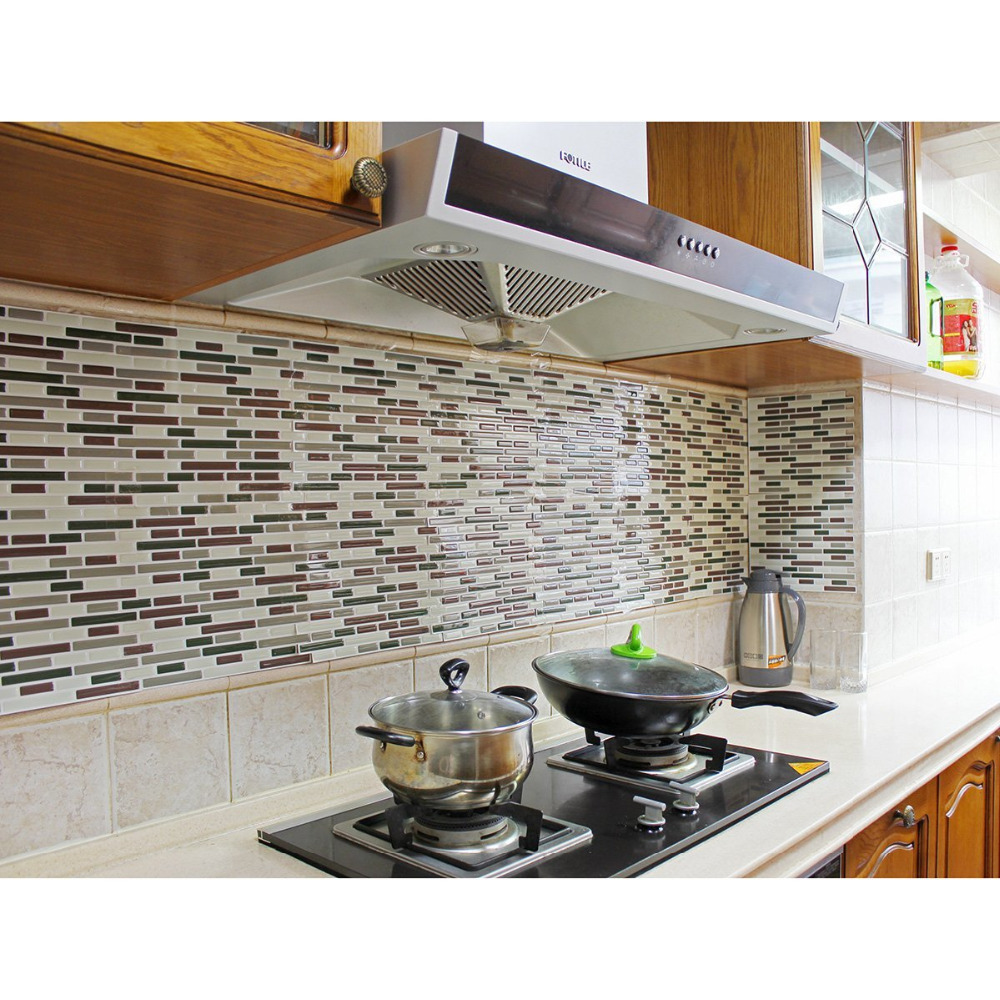 Kitchen Backsplash Peel And Stick Tiles Faux Subway Glossy