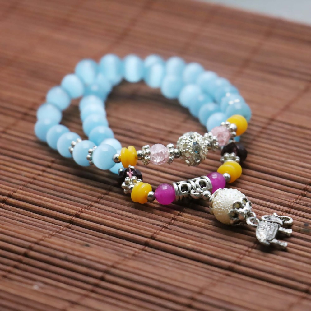 Fresh Tibet Silver Elephant Pendant Blue Cat eyes Opal Chalcedony beads Bracelet hand chain for women girls Natural Stone(China (Mainland))