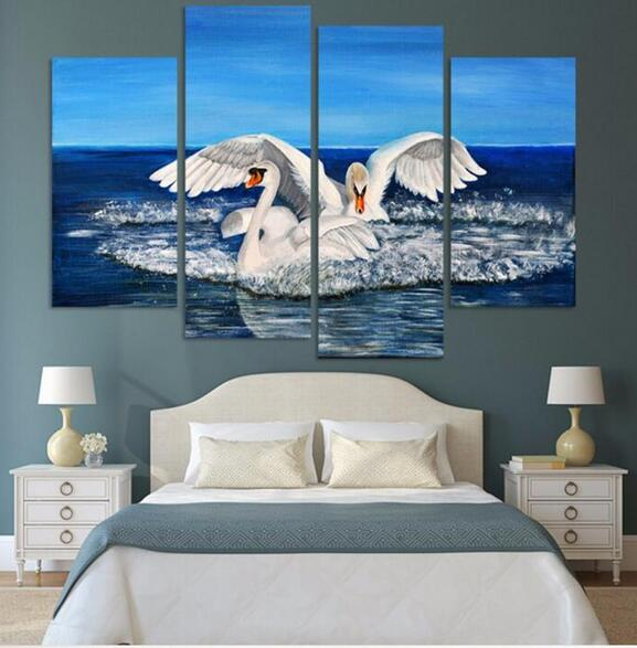two swans canvas paintings for sale new fashion decoration animal oil painting on Canvas Art(China (Mainland))