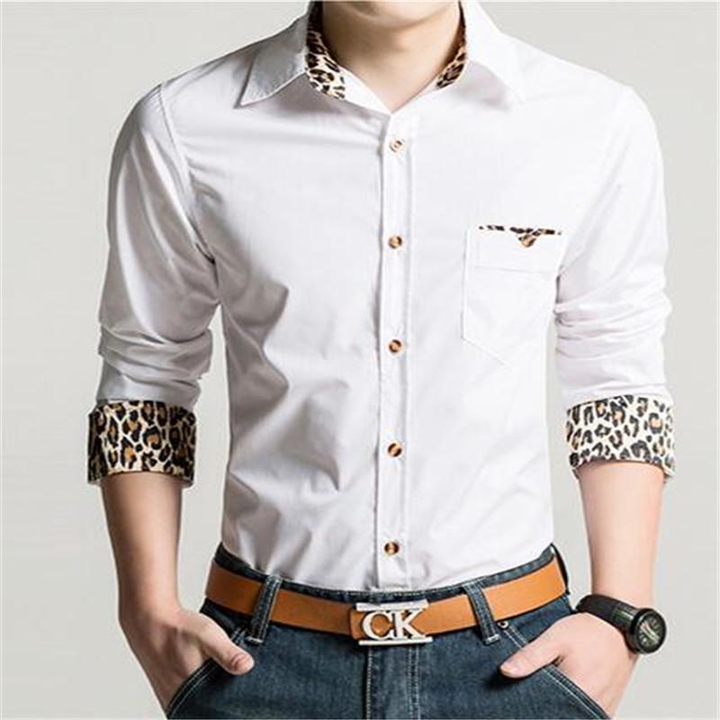 Drop Shipping Fashion Men's Clothing Leopard Shirt Slim Men Korean Version Of Casual Long-sleeved Business Shirt Black / White(China (Mainland))