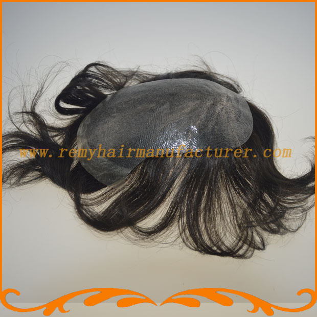 Free shipping 3.5*6 NPU toupee,injected silicon, Indian hair toupee ,mens wigs remy hair, tuope in stock(China (Mainland))