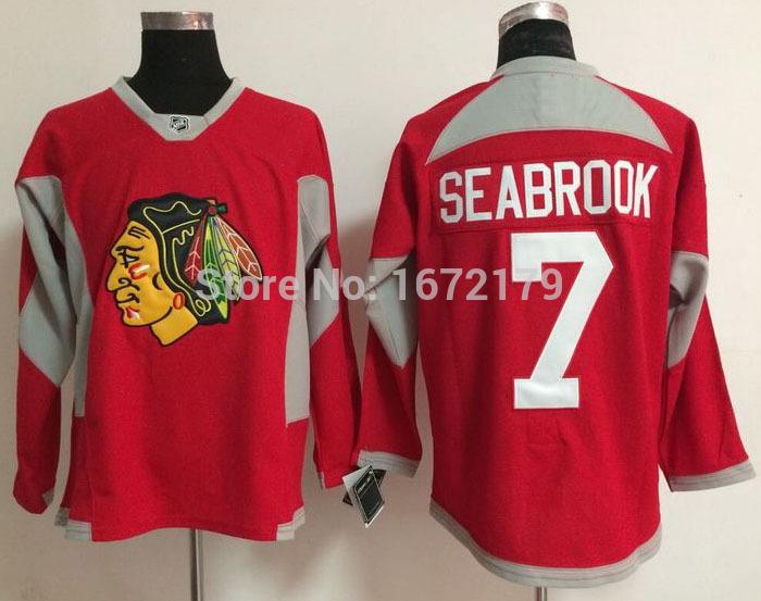 100% quality assured NEW men's Chicago Blackhawks jerseys #7 BRENT SEABROOK RED FASHION PRACTICE 100% STITCHED hockey hockey(China (Mainland))