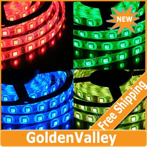 $10 off per $300 order 5050 SMD 5M 150 Led Waterproof RGB LED Flexible Light Strip + 24 key Remote + IR controller