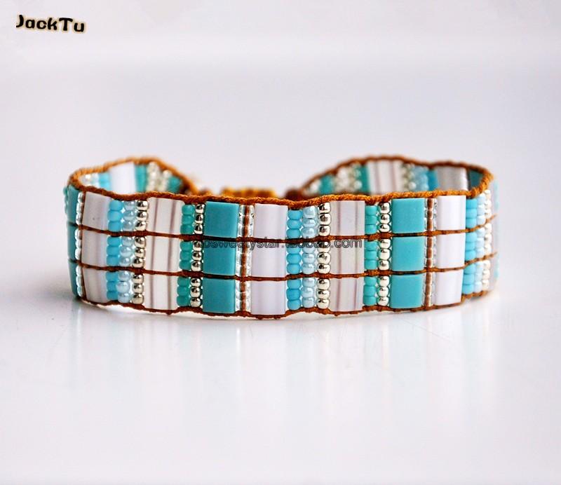 sky blue mix tila seed bead bracelet on yellow nylon<br><br>Aliexpress
