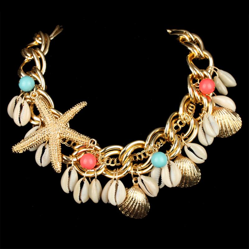 Cute Gold Plated Sealife Acrylic Beads Starfish Shell Drop Weaving Statement Choker Necklaces Women Fashion Jewelry - KAYMEN JEWELRY CO,.LED. store