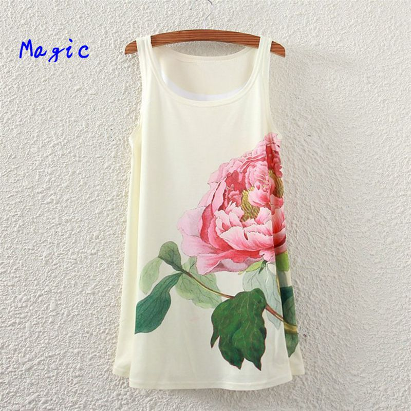 [Magic] 2015 Tops hot newest style Sleeveless long tshirt Women Peacock/flowers/love/letters printed tees t shirt blouse 21color(China (Mainland))