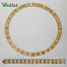 mother's day gifts 2015 african jewelry therapy health care  yellow crystal magnetic titanium gold filled necklace bracelet sets(China (Mainland))