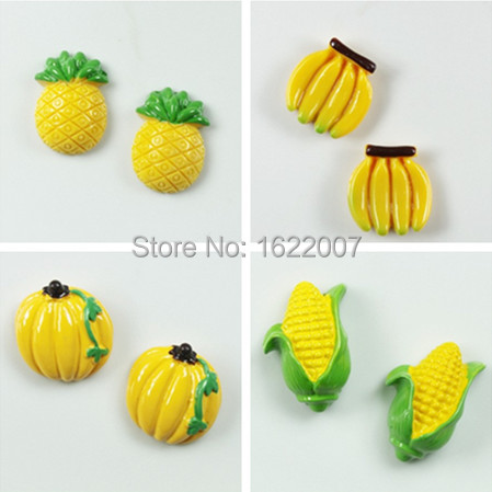 Fashion 4 Styles Pineapple Banana Refrigerator Magnets for kid Children Pumpkin Corn Fridge Magnet Decoration ima de geladeira(China (Mainland))