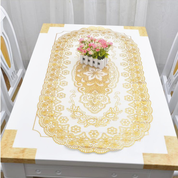 Classic gold PVC waterproof table cloth party wedding 60x120cm home kitchen dining placemat pad(China (Mainland))