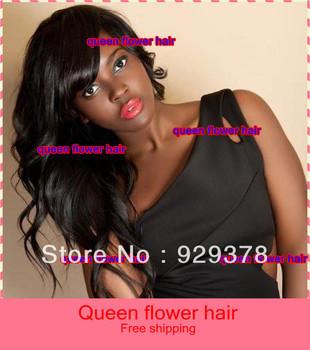 Free shipping!!natural wave with bangs fashion 100% brazilian virgin human hair glueless full Lace Wig baby hair