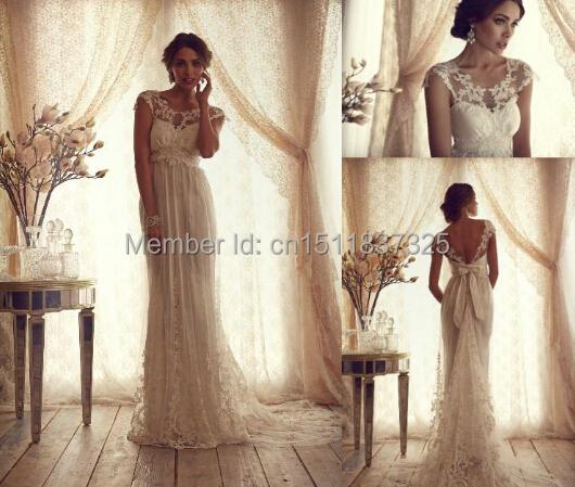 Aliexpress Buy Vintage White Ivory Lace Wedding Dresses 2015 Luxury Sheer Neck Long Trains
