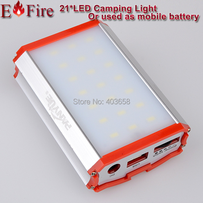Newer LED Camping Light 8000mah mobile battery metal cover water proof design 21* Care LED(China (Mainland))