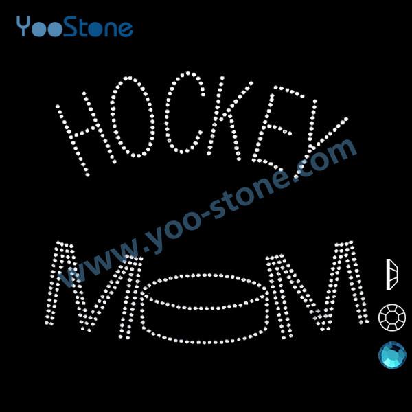 Hockey Mom Rhinestone Heat Transfer Designs, 20 Pcs/Lot Rhinestone Iron On Transfer Hot Fix Motif For Decorate Sports t Shirts(China (Mainland))
