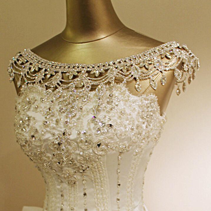 Vintage Luxury Bridal Necklace Shoulder Chain Rhinestone Shiny Earring Set Wedding Party Body Jewelry - Blue SKY store