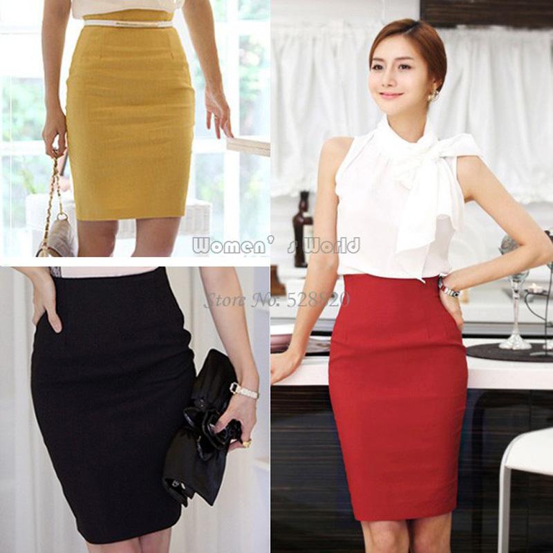 Женщины приталенный ретро свободного покроя завышенная талия мешок бедра до колена офис-леди карандаш юбка 5 цветов 5031