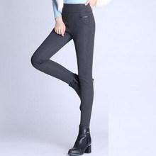 חורף מכנסיים נשים משרד עבה חם צמר גבוה מותניים מכנסי עיפרון למתוח שחור לבן מכנסיים בתוספת גודל 5XL 6XL חותלות 2019(China)