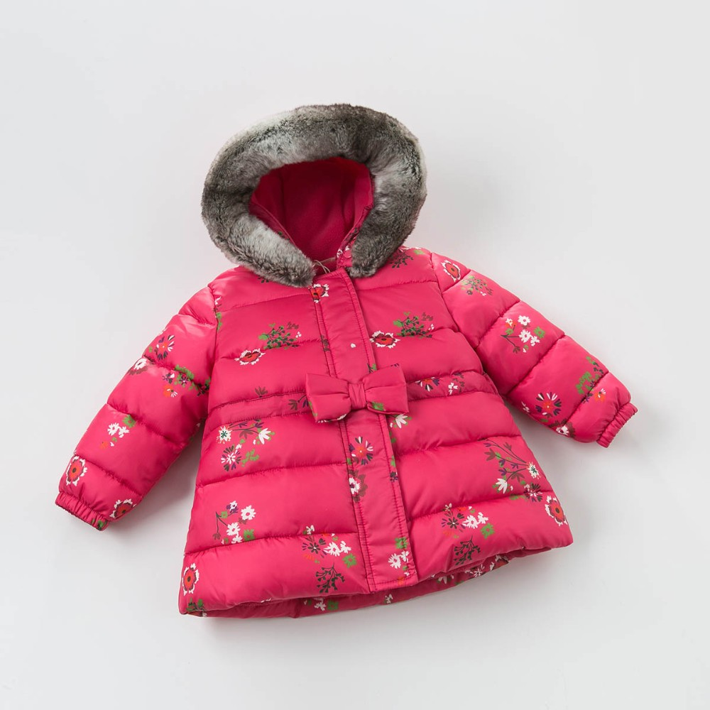 DB3763 dave bella  baby girl pink rose flower coat padded outerwear hooded parkas