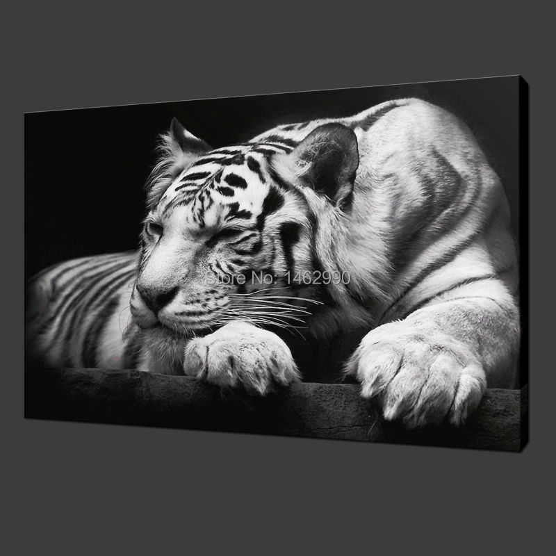 Not Framed Canvas Print Painting Modern Wall Art Animal Black and White Tiger Home Decoration Picture Paint on Canvas Prints(China (Mainland))