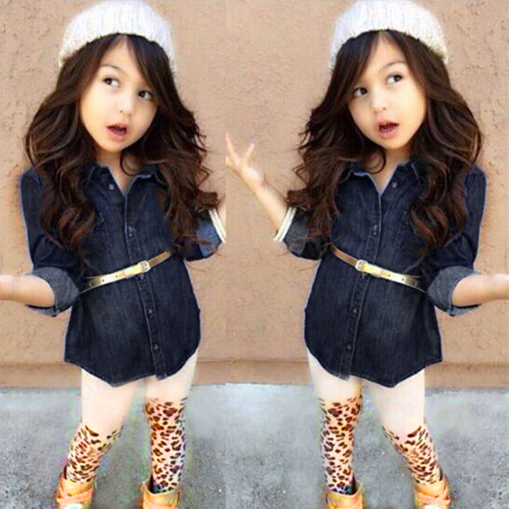 2PCS Kid Girls Long Sleeve Blue Jeans Set Denim Shirt & Leopard Pant Outfit 1-7T(China (Mainland))
