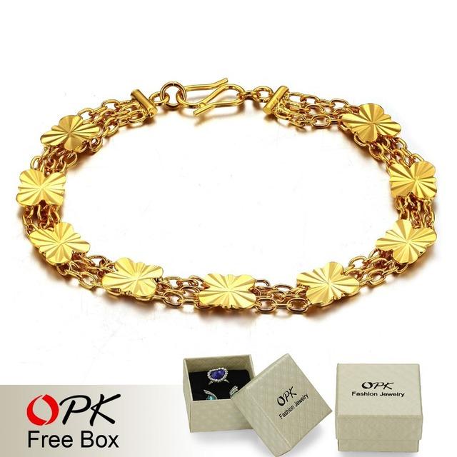 OPK JEWELRY Bling Bling 18K Gold GP Women Bracelet Gold Flower Chain Bracelet, shining bridal jewelry 377
