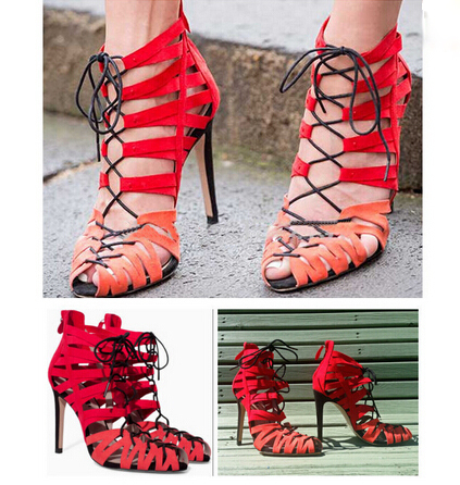 Fashion Booties Peep Toe Lace Up Patchwork Red Colors High Heels Gladiator Women Sandals Boots Pumps Strappy Wedding Shoes Woman<br><br>Aliexpress