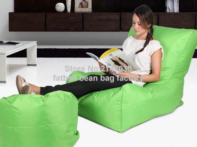 Green sofa chair, outdoor bean bag furniture set with foot stool - waterproof beanbag home folding chair(China (Mainland))