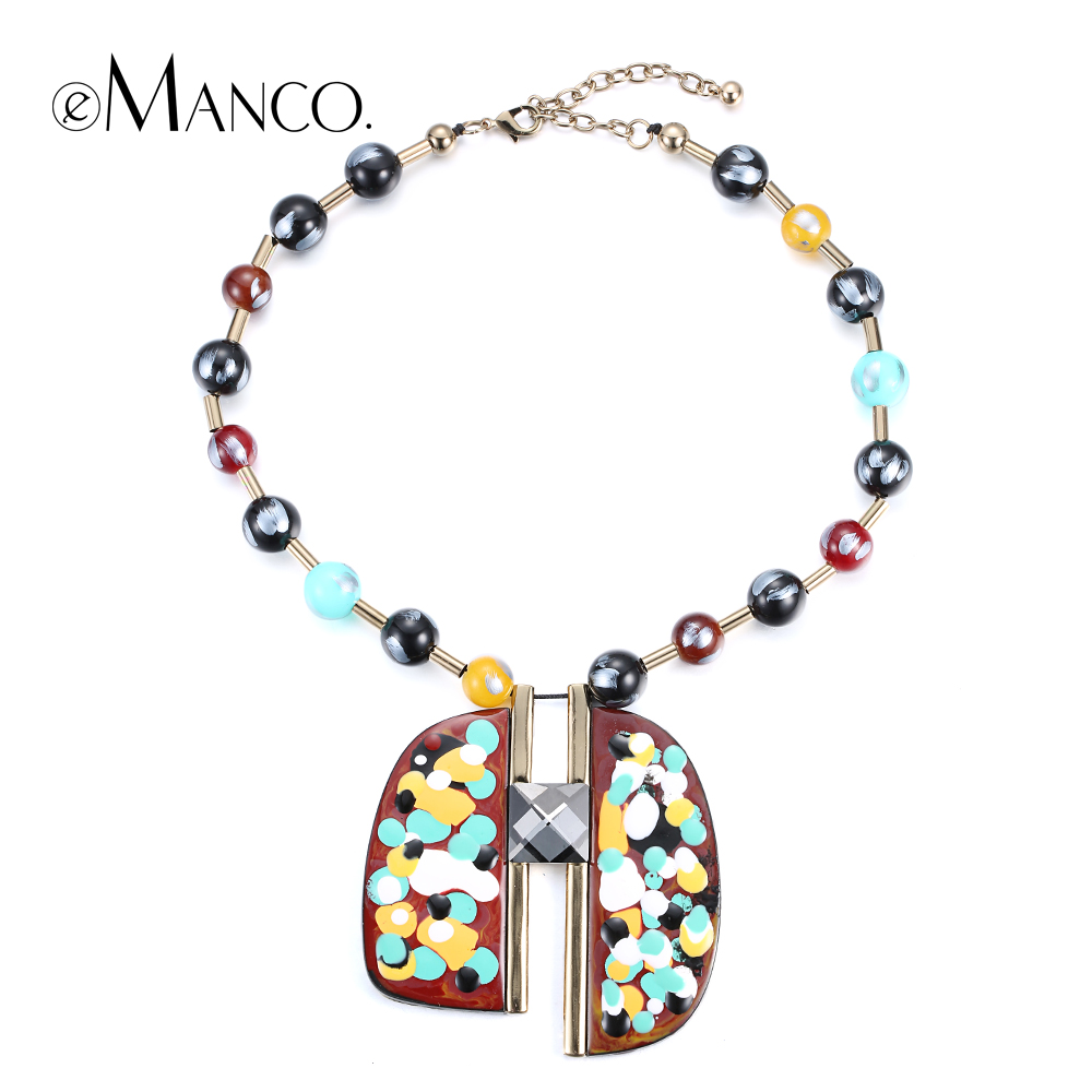 Painted resin pendant necklace women acrylic bead copper choker necklaces 2015 trendy geometric pendants collier femme eManco<br><br>Aliexpress