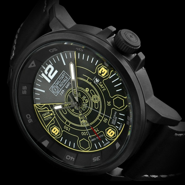 Military Royale Black Analog Naval Mine Blue Print Dial Army Sport Watch For Men MR096