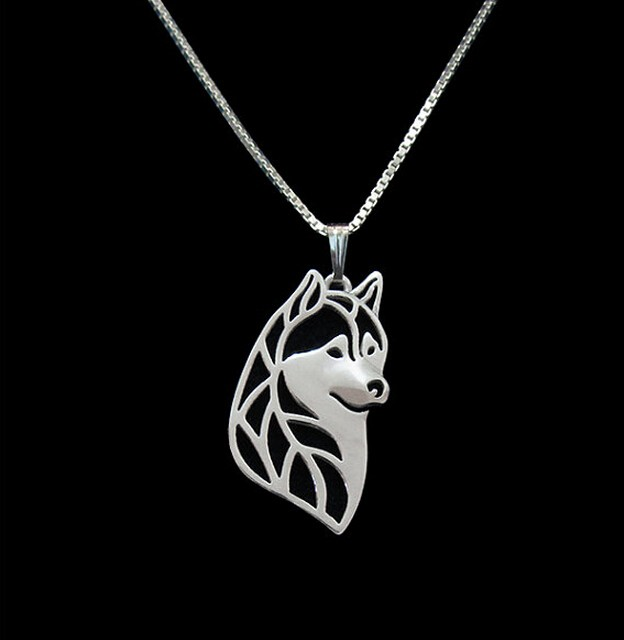 Hot Sale Siberian Husky Head Necklace 3D Hollow Animal Lover Pendant Memorial Necklaces Christmas Gift For Women Friend(China (Mainland))