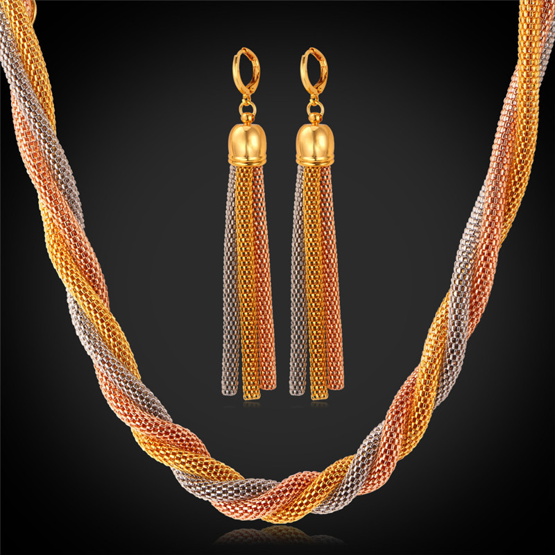 Multi Layer Necklace Gold Jewelry Sets Trendy Rose Gold Plated 3 Color Mesh chain Necklaces Long Drop Earrings For Women NH138(China (Mainland))