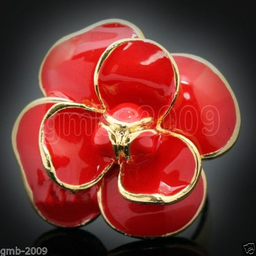 Hot sale new Style >>>>Fashion Women's Red Flower Cloisonne Enamel 18K Rose GP Ring Size Adjustable(China (Mainland))