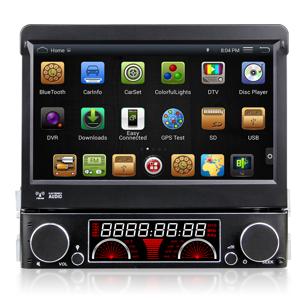 "Quad Core Android 4.4 HD 1 din 7"" Universal Car audio Car dvd gps With Car PC 3G WIFI Radio Bluetooth IPOD TV DVR Built-in 16GB(China (Mainland))"