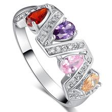 JROSE Jewelry Wedding Rings for Women Ruby Amethyst Pink Topaz Morganite White CZ Diamond 18K White Gold Plated Ring Hot Sale(China (Mainland))