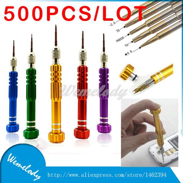 500pcs 5in1 multitool Repair of Kit cellphone Screwdrivers set 5 Color open Tools For iPhone Samsung xiaomi htc iPod Tablet<br><br>Aliexpress