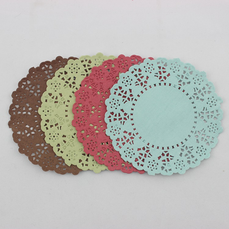 """Free shipping,4.5""""(11.5cm) brown green and burgundy lace paper doilies wedding party decoration pad(China (Mainland))"""