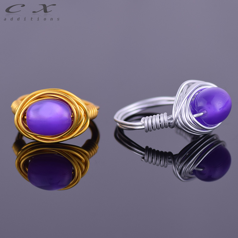 2016 nice hot sale women wire Wrapped jewelry ring blue acrylic ellipse pattern bead rings handmade braid bead Simple wire ring(China (Mainland))