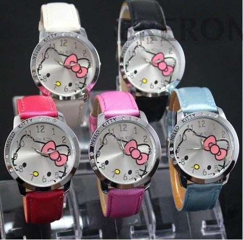 Hot Sales Promotion Cute Hello Kitty Watches Children Woman Fashion Quartz Wrist Watch For Girl Mix Colors(China (Mainland))