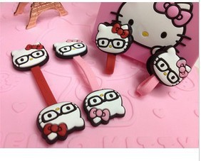 Kawaii Hello Kitty with Glasses Wrap Cable Wire Tidy Earphone Winder Organizer Holder KCS