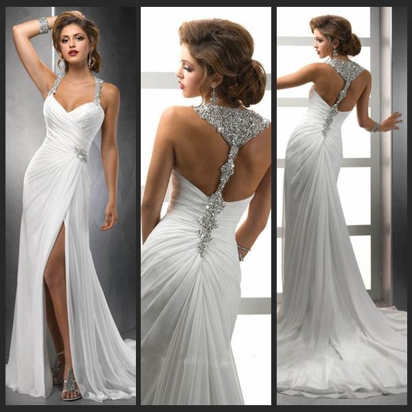 White Chiffon Front Silt Casual Style Backless vestidos de noiva Beach Wedding Dresses 2015 Bridal Gowns - Original Factory Online store