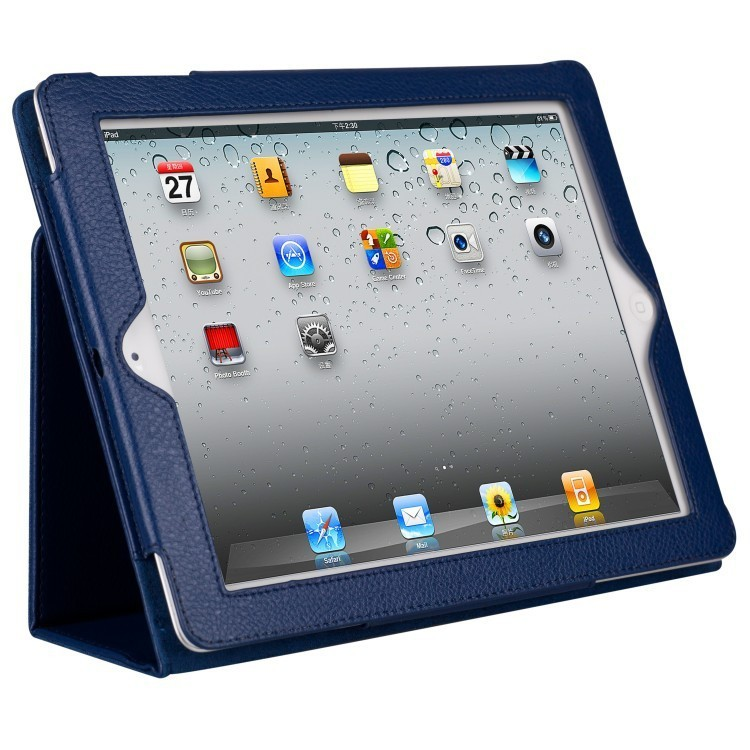 For ipad 2 3 4 Matte Litchi Surface Soft Leather Cover With Auto Sleep Wake Up
