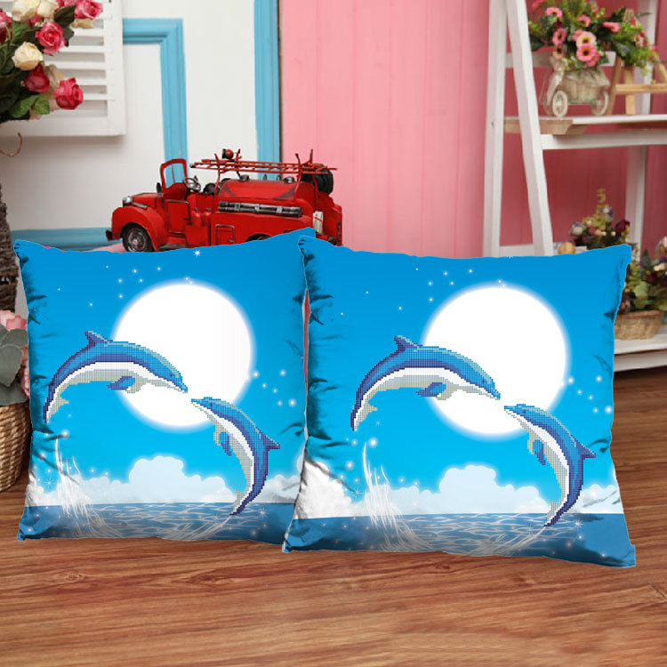 Гаджет  Love precise printing 3D stitch pillow newest Dolphin Cove Dolphin animal sofa cushions of the living room series None Изготовление под заказ