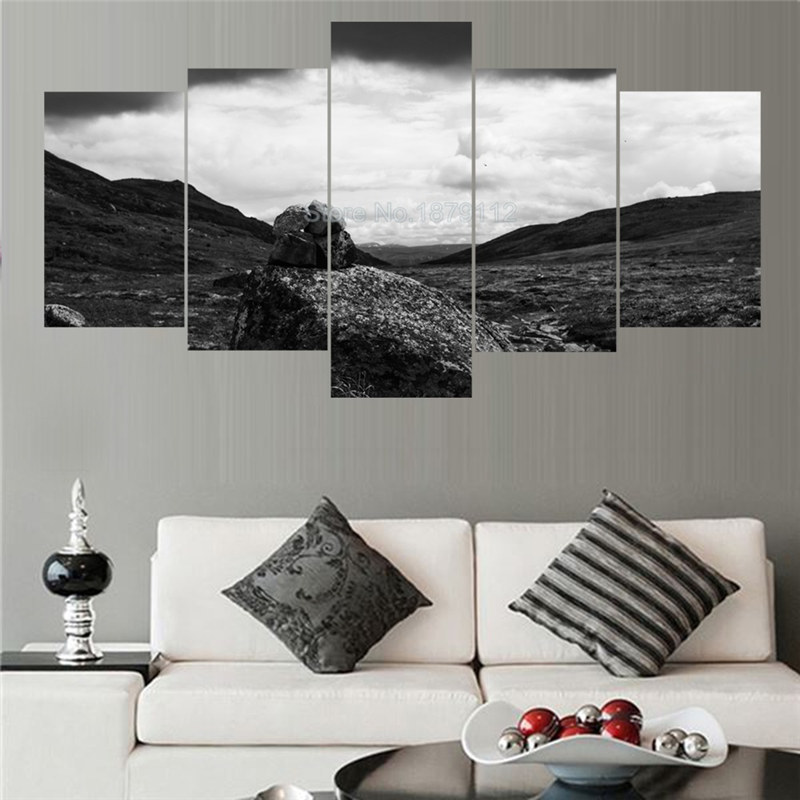 5 Piece Canvas Wall Art The Vast Wilderness Oil Paintings Unframed Printed Landscape Picture Fashion Artwork For Kids Room(China (Mainland))