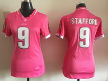 100% stitched women pink love Detroit Lions ladies 9 Matthew Stafford 21 Ameer Abdullah 81 Calvin Johnson Embroidery Logos(China (Mainland))