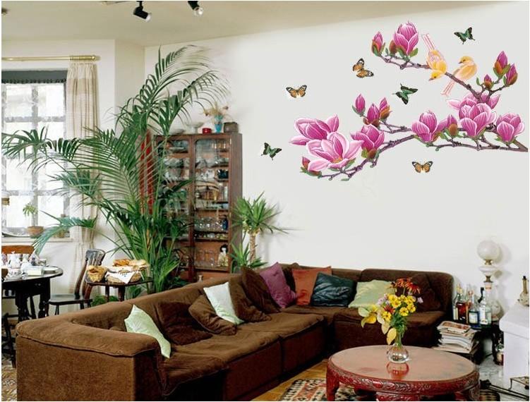 Free shipping home decorative mural decal art vinyl wall for Bird wallpaper home decor